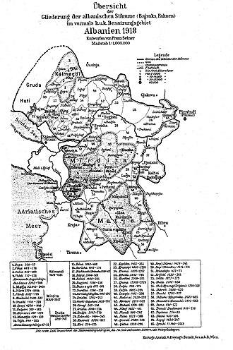 Kelmendi (tribe) - Albanian bajraks (1918). Kelmendi bajraks are numbered 1–4.