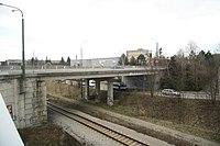 Overview of bridge Sportovní - Hrotovická over railway in Třebíč, Třebíč District.jpg