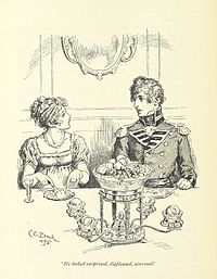 Seated at a table, a young woman makes a young soldier worried.