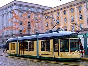 Pöstlingbergbahn - One of the Pöstlingbergbahn's new low-floor tramcars, at Hauptplatz in the city center