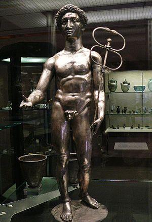 Berthouville Treasure - Silver figure of the Roman god Mercury from the treasure