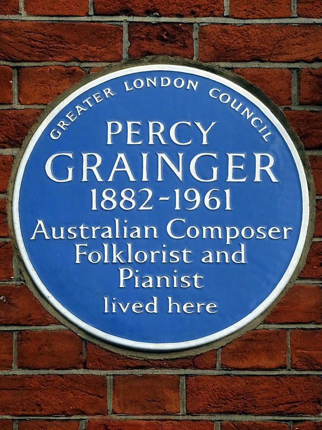 Percy Grainger blue plaque - Percy Grainger  1882-1961  Australian Composer  Folklorist and  Pianist  lived here