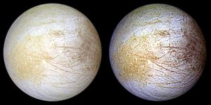 Europa (moon) - Approximate natural color (left) and enhanced color (right) Galileo view of leading hemisphere