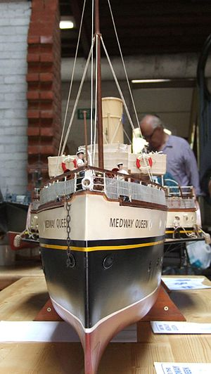 Abels Shipbuilders - A model of the ''Medway Queen''. The ship is being rebuilt at Abels under Heritage Lottery Funding.