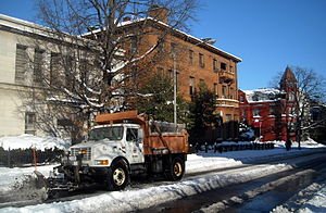 District Department of Transportation - A DDOT snowplow in Dupont Circle, following the 2009 North American blizzard.