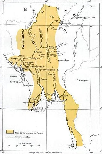 Pagan Kingdom - Pagan Empire under Anawrahta; Minimal, if any, control over Arakan; Pagan's suzerainty over Arakan confirmed four decades after his death.