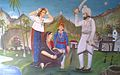 Painting of Jahal, sonbai and Devat Bodar who is killing his own son Uga to save Ranavghan.jpg