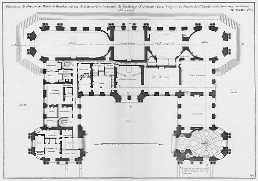 Palais de Bourbon - Plan au rez-de-chaussée - Architecture françoise Tome1 Livre2 Ch23 Pl3