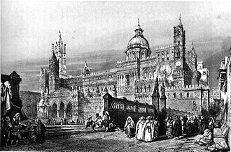 John Henry Le Keux - Palermo Cathedral, engraving by John Henry Le Keux after William Leighton Leitch
