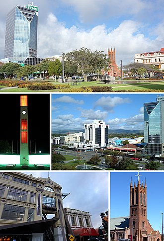 Palmerston North - Clockwise from top: The Square, Central Business District, All Saints Church, City Library, The Square Clock Tower