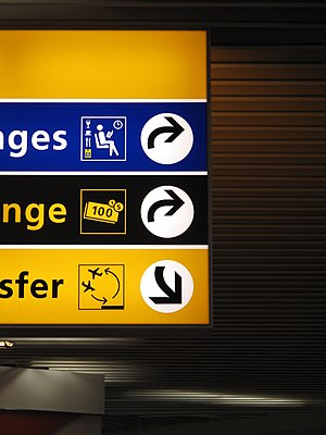 Paul Mijksenaar - Wayfinding signs at Schiphol, designed by Mijksenaar