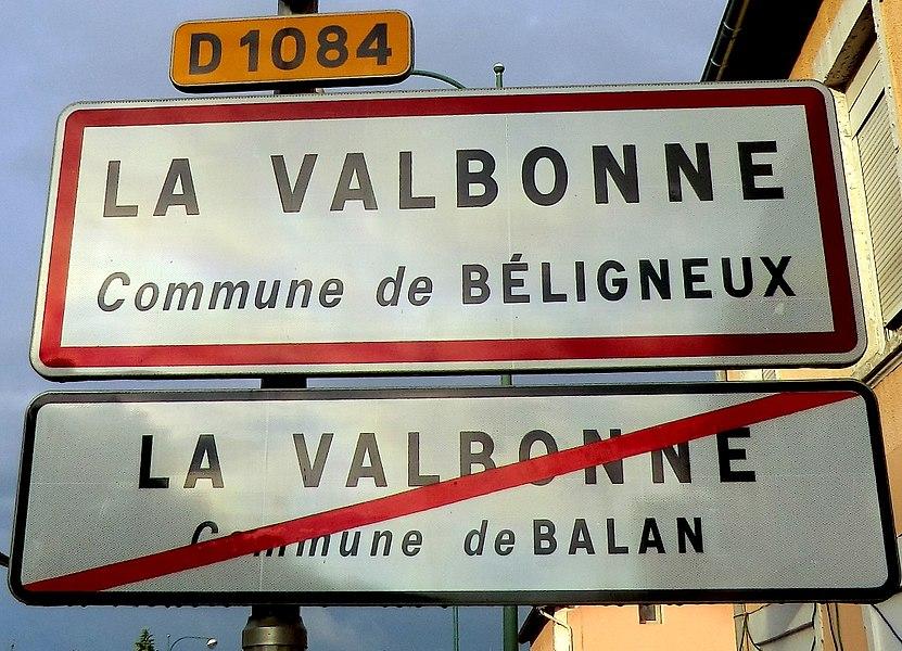 Panneau d'entrée-sortie de La Valbonne (sortie de Balan - entrée dans Béligneux).