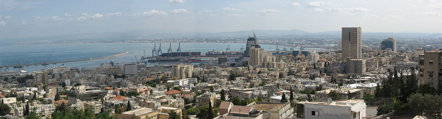A view of downtown Haifa, with the Kryaot in the background.
