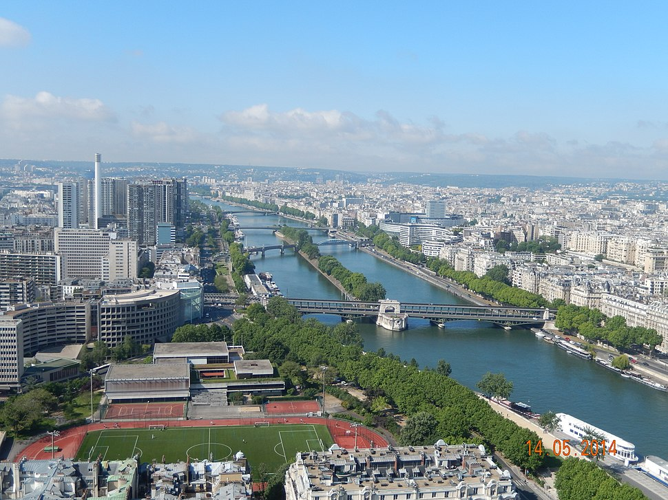 Paris View from the Eiffel Tower second floor Seine downstream 02d
