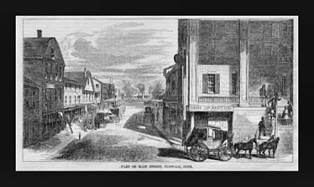 """Part of Main Street"", 1855 engraving in Baillou's Pictorial PartOfMainStreetNorwalkConn1855.jpg"