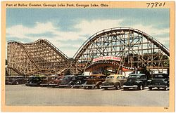 Part of roller coaster, Geauga Lake Park, Geauga Lake, Ohio (77801).jpg