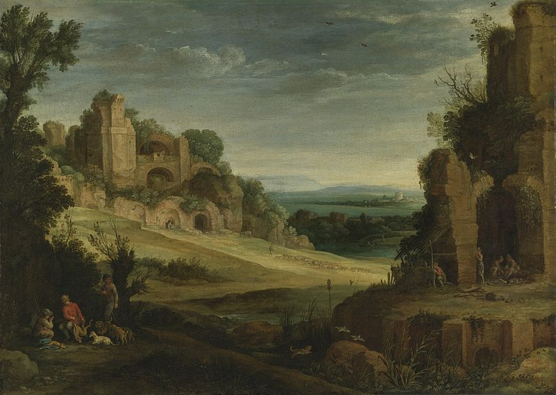 File:Paul Bril - Landscape with a hunting party and Roman ruins.jpg