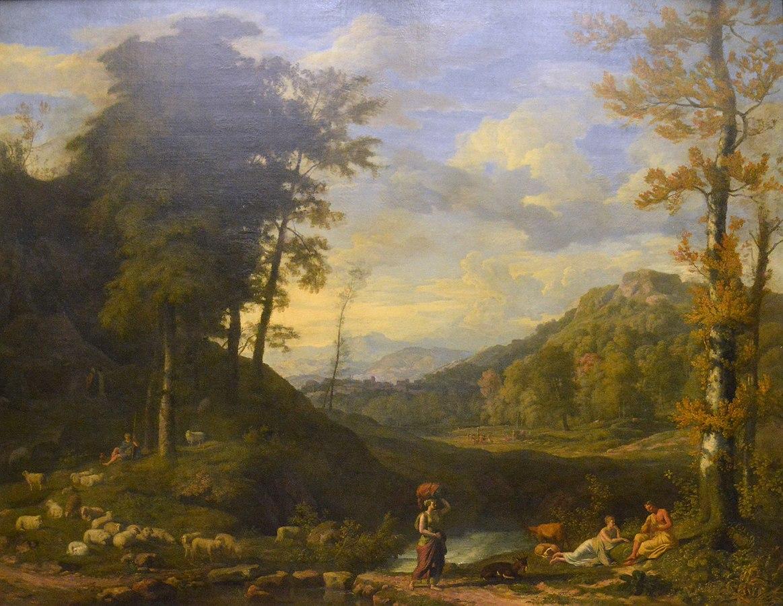 Paysage avec berger et joueur de flûte