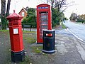 Penfold pillar box, K6 telephone box and a litter bin, Evesham Road, Cheltenham - geograph.org.uk - 1569530.jpg
