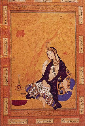 Smoking - A Persian girl smoking by Muhammad Qasim. Isfahan, 17th century