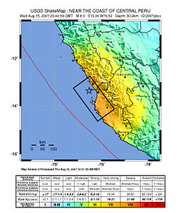 Map of the Peru coastline, showing location and strength of quake. Star marks epicenter.