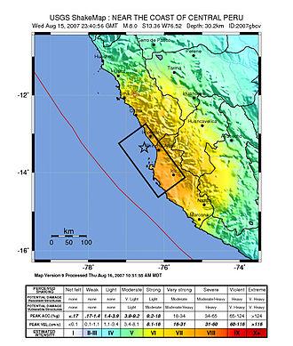 2007 Peru earthquake - Image: Peru Quake Aug 15 2007