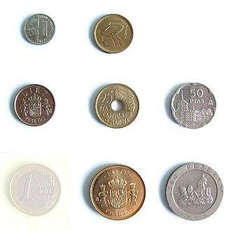 Spanish peseta - Last editions of peseta coins (lacks 500 pts. coin) and 1 euro coin for size reference.