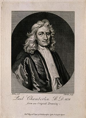 Peter Chamberlen the younger - P. Chamberlen. Line engraving by T. Trotter, 1794 (incorrect name Paul)