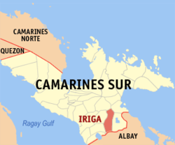 Map of Camarines Sur showing the location of Iriga City