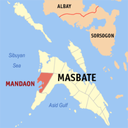 Map of Masbate with Mandaon highlighted