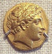 180px PhilipIIGoldStaterHeadOfApollo Philip II of Macedon (Wikipedia)