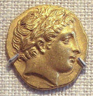 Philip II of Macedon - Philip II gold stater, with head of Apollo