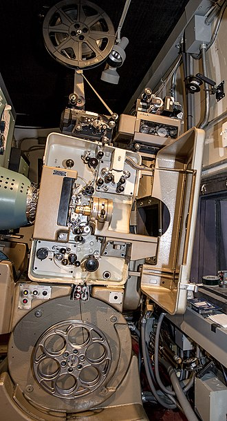Philips DP70 - Image: Philips DP70 projector mechanism and pedestal, with operating cover open