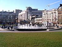 The central fountain in Piccadilly Gardens