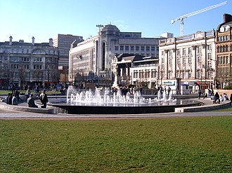 Manchester city centre - Piccadilly Gardens, a green space in the city (view towards Market Street)