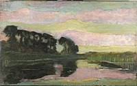 Piet Mondriaan - Riverscape with row of trees at left, sky with pink and yellow-green bands, farmstead on the Gein screened by tall trees - 0334269 - Kunstmuseum Den Haag.jpg