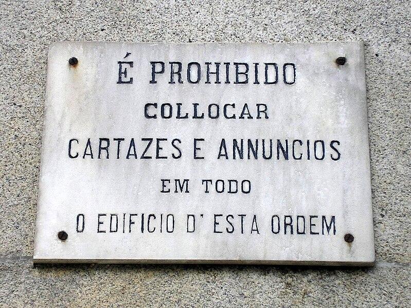 Anúncio em português antigo