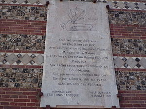 Nautilus (1800 submarine) - Commemorative plaque in the Port of Rouen