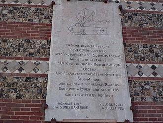 Nautilus (1800 submarine) - Commemorative plaque in the Port of Rouen