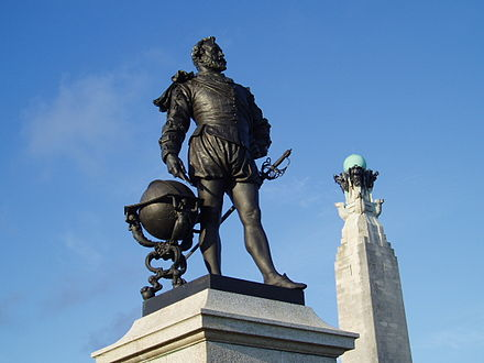 The statue of Sir Francis Drake (1540–1596) on Plymouth Hoe