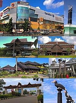 From top, left to right: Shopping complex in Pontianak, The Pontianak Equatorial Monument, Some of the official government buildings, Traditional Malay House, Traditional Borneo birds sculpture, Road gate of Pontianak city, Enggang Badak sculpture.