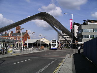 Pool Meadow Bus Station - A National Express Coventry bus travelling under the Whittle Arches on its way to the Pool Meadow Bus Station
