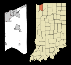 Map of Porter County, Indiana with an inset showing the location of the community of Tassinong