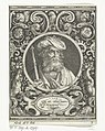 Portret van Karel de Grote in medaillon binnen rechthoekige omlijsting met ornamenten Carolus Magnus (titel op object) De negen besten (serietitel), RP-P-1890-A-15491.jpg