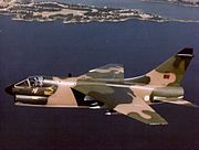 Portuguese A-7P Corsair II in flight c1984