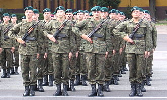 At attention - Polish soldiers standing at attention