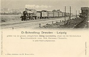 Leipzig–Dresden railway - Express train on the Leipzig–Dresden railway about 1900