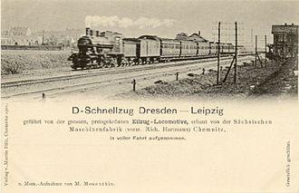 Leipzig–Dresden railway - Express train on the Leipzig–Dresden railway about 1900