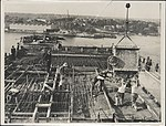Pouring concrete on the southern platform of the Sydney Harbour Bridge, 1928 (8283752346).jpg
