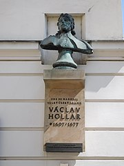 Wenceslaus Hollar memorial plaque and bust